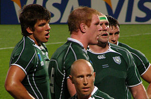 Donncha O'Callaghan - Ireland vs Georgia, 2007 Rugby World Cup, O'Callaghan on the far left