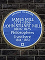 JAMES MILL 1773 - 1836 JOHN STUART MILL 1806 - 1873 Philosophers lived here 1814 - 1831.jpg
