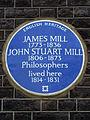 JAMES MILL 1773 - 1836 JOHN STUART MILL 1806 - 1873 Philosophers lived here 1814 - 1831.jpg