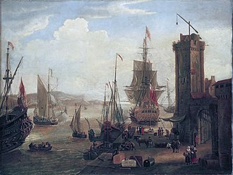 Economic history of the Netherlands (1500–1815) - English and Dutch ships taking on stores at port, by Jacob Knyff