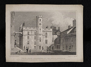 Thomas H. Shepherd - Historic view of The Royal Palace in Crown Square at Edinburgh Castle