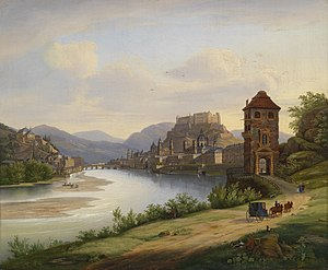 Austrian walled towns - Oil painting by Jakob Roedler showing Salzburg with a gate tower in foreground