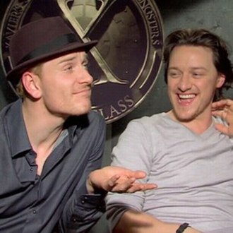 X-Men: First Class - Actors Michael Fassbender and James McAvoy at a press junket.