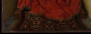 Oriental carpets in Renaissance painting - Jan van Eyck, Lucca Madonna (detail), circa 1430. Städel Museum, Frankfurt