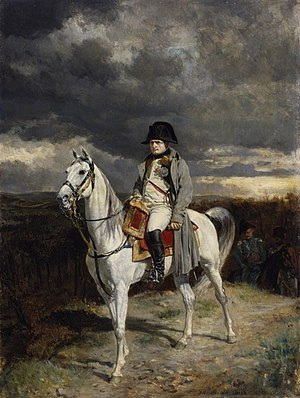 Arcis-sur-Aube - In this small painting commissioned by the subject's nephew, Prince Napoleon, the emperor is portrayed in a forbidding landscape just after his last, hard-won victory in the 1814 French campaign that was fought at Arcis-sur-Aube: 23,000 French troops withstood the onslaught of 90,000 Austrians, but were unable to capitalize on their victory.