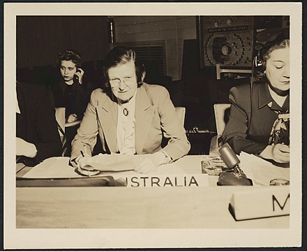 Lady Street as Australia's only female delegate at the post-war establishment of the United Nations conference at San Francisco in 1945 Jessie Street representing Australia at the United Nations (15314938922).jpg