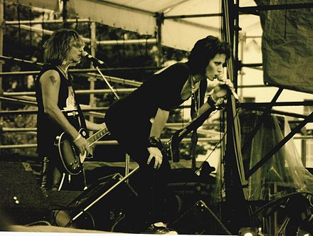 Jett performing live at the Bumbershoot festival, in Seattle, Washington, 1994 Joan Jett - 1994 - 02.jpg