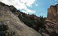 Joe Lott Tuff & normal fault & drag-folded Sevier River Formation (Joe Lott Creek Canyon, Tushar Mountains, Utah, USA) 5.jpg
