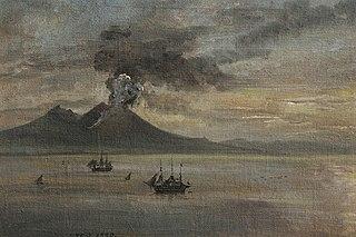 The Neapolitan Coast with Vesuvius in eruption