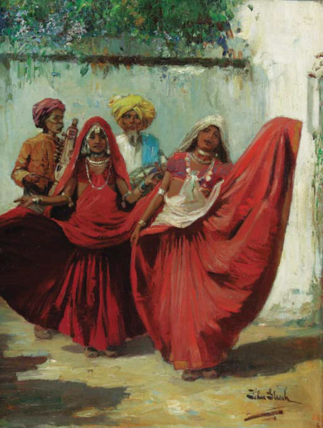 A painting of two nautch girls in red clothes performing with two musicians