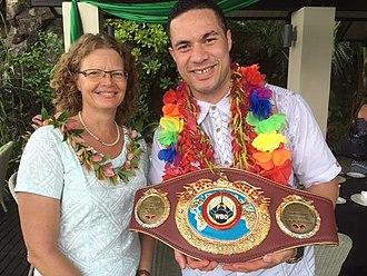 Joseph Parker (boxer) - Parker with his WBO title alongside Australian High Commissioner Sue Langford in Samoa, December 2016