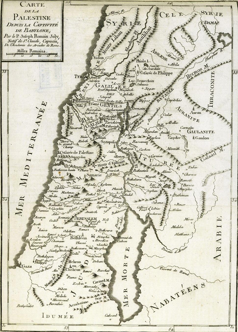 Joseph Romain Joly. Carte de la Palestine depuis la captivité de Babylone. 1784