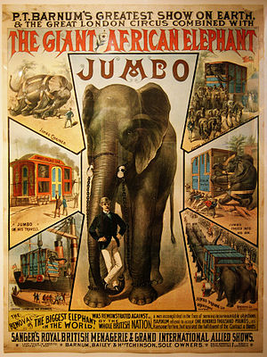 Jumbo - Jumbo and his keeper Matthew Scott (Circus poster, ca. 1882)