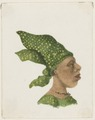 KITLV - 36B228 - Borret, Arnoldus - Woman with angisa (Surinam headscarf) sideways - Water colour - Circa 1880.tif