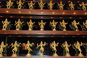 Tandava - Some of the 108 Karanas of Nataraja at Kadavul Hindu Temple, on Kauai, Hawaii. It is one of the few complete collections in existence, commissioned by Satguru Sivaya Subramuniyaswami in the 1980s. Each sculpture is about 12 inches tall. Chidambaram Temple is also known to have a complete set.