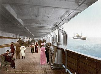Russian merchant cruiser Ural (1904) - Colourised postcard view of the promenade deck of Kaiserin Maria Theresia