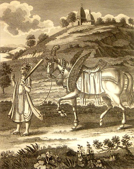 Kalki and his horse, Devadatta. Kalki1790s.jpg