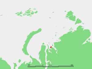 Oleny Island - Location of Oleny Island in the Kara Sea.