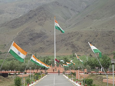 The giant Indian flag at the memorial - Kargil War