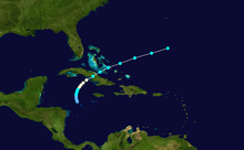 Storm track of Hurricane Katrina. The storm developed near Jamaica, moved north-northeastward and strengthened into a tropical storm, and then became a hurricane while tracking northeastward. Katrina then crossed eastern Cuba and the southeastern Bahamas before dissipating in the open Atlantic Ocean.