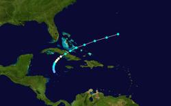 Traccia della tempesta dell'uragano Katrina.  La tempesta si è sviluppata vicino alla Giamaica, si è spostata verso nord-nord-est e si è rafforzata in una tempesta tropicale, per poi diventare un uragano durante il tracciamento verso nord-est.  Katrina ha poi attraversato Cuba orientale e le Bahamas sud-orientali prima di disperdersi nell'Oceano Atlantico aperto.