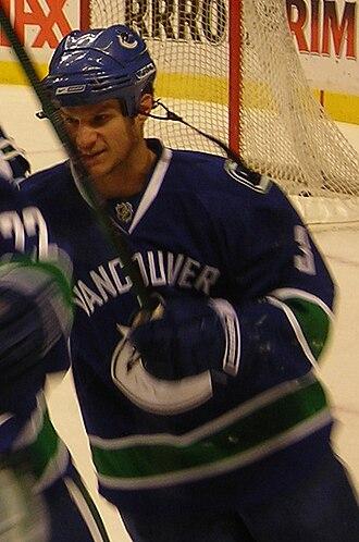 Kevin Bieksa - Bieksa during a pre-game skate in 2009