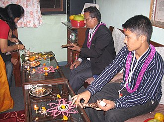 Swanti (festival) - Kija Puja being performed with mandala