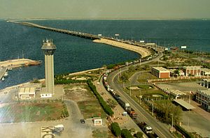 King Fahd Causeway - View of the causeway, facing east.