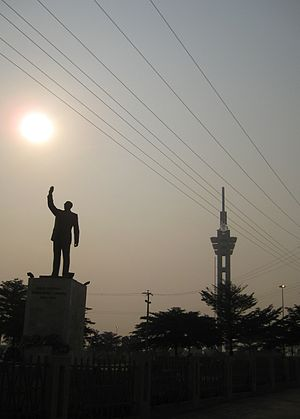 Kinshasa - Tower of Limete and monument to Lumumba