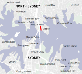 map of Sydney showing Kirribilli and Jeffrey Street location