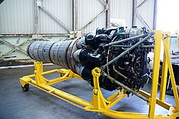 Klimov VK-1 jet engine from MiG-15bis (c-n 1B01524) front 3-4 view starboard side.jpg