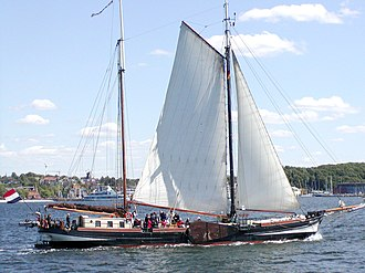 Leeboard - A Dutch sailing barge showing its stowed leeboard