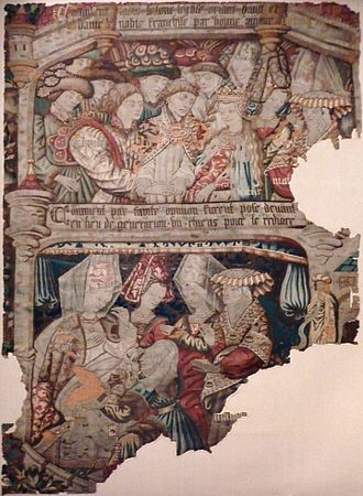 Knight of the Swan - A tapestry of 1482 showing episodes from the Knight of the Swan story: At the bottom puppies are substituted for babies.