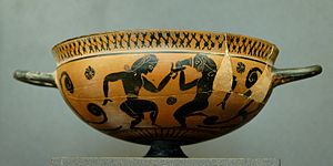Komast cup - Komast cup by the Falmouth Painter, circa 560 BC, Louvre.