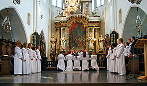 St. Mary's Church, Ystad - Confirmation being celebrated in the church