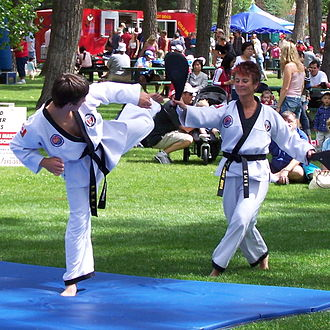 Korean martial arts - Students from a Korean martial arts school in Calgary do a demonstration