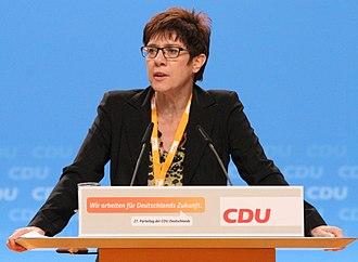 Annegret Kramp-Karrenbauer - Kramp-Karrenbauer speaking at the 2014 CDU conference