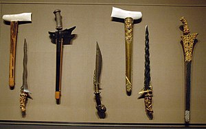 Gerald Gardner (Wiccan) - A selection of kris knives; Gardner took a great interest in such items, even authoring the definitive text on the subject, Keris and Other Malay Weapons (1936).