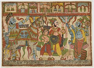 Ashvamedha - A 19th-century painting, depicting the preparation of army to follow the sacrificial horse. Probably from a picture story depicting Lakshmisa's Jaimini Bharata