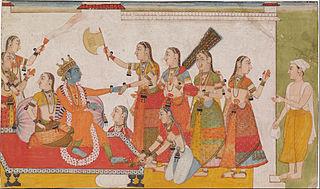 Krishna welcoming Sudama, from a Bhagavata Purna