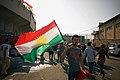 Kurdish flag at the pro-Kurdistan referendum and pro-Kurdistan independence rally at Franso Hariri Stadiu, Erbil, Kurdistan Region of Iraq 07.jpg