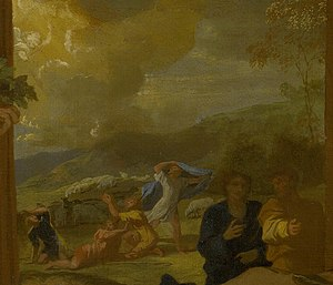 Adoration of the Shepherds (Poussin) - Detail with the Annunciation to the Shepherds in the distance