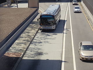 El Monte Busway Shared-use express bus corridor and high occupancy toll lanes running along Interstate 10 in the Los Angeles area.