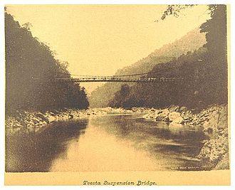 Teesta River - British Engineering - Teesta Suspension Bridge in Sikkim (1894)