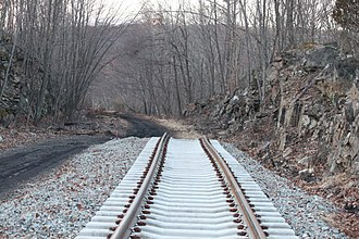 Lackawanna Cut-Off Restoration Project - The westernmost end of restored trackage, near Lake Lackawanna, New Jersey, Feb 2012