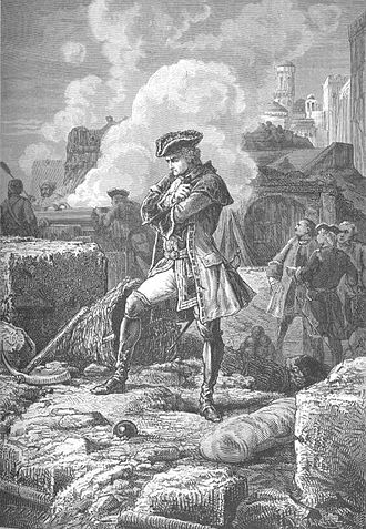 Siege of Madras - The French commander at Madras, Lally, depicted at the later Siege of Pondicherry by Paul Philipotteaux.