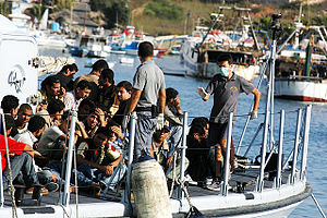 Immigration by country - Immigrants to Europe have entered by boat to the Italian island of Lampedusa