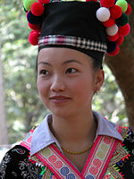 In Luang Prabang, a young girl at the time of a Hmong Meeting Festival.