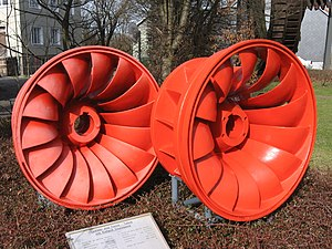 Söse Dam - Rotors of a Francis turbine from the Söse Dam power station