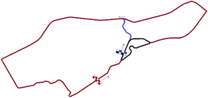 South African Grand Prix - Layout of all versions of the Prince George Circuit Brown = 1934, Blue = 1936, Black = 1959
